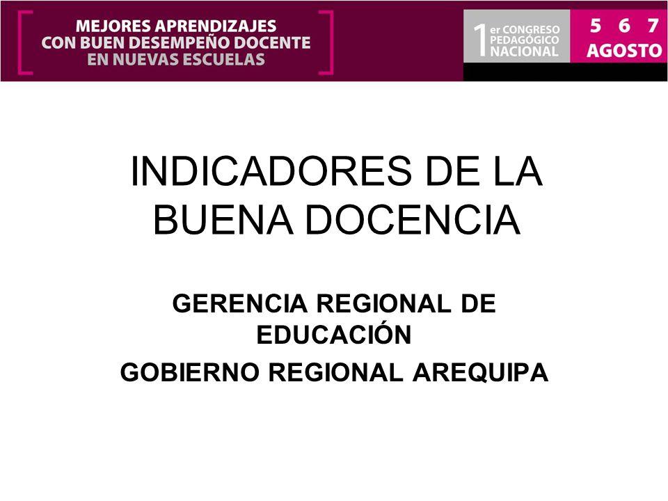 INDICADORES DE LA BUENA DOCENCIA GERENCIA REGIONAL DE EDUCACIÓN GOBIERNO REGIONAL AREQUIPA
