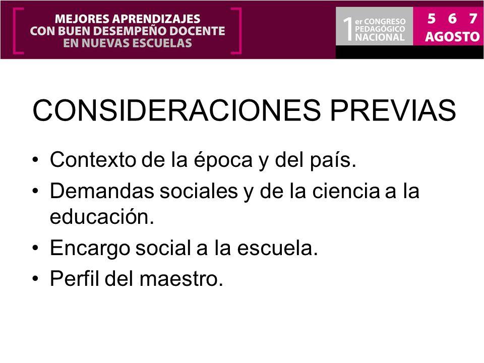 CONSIDERACIONES PREVIAS Contexto de la época y del país. Demandas sociales y de la ciencia a la educación. Encargo social a la escuela. Perfil del mae