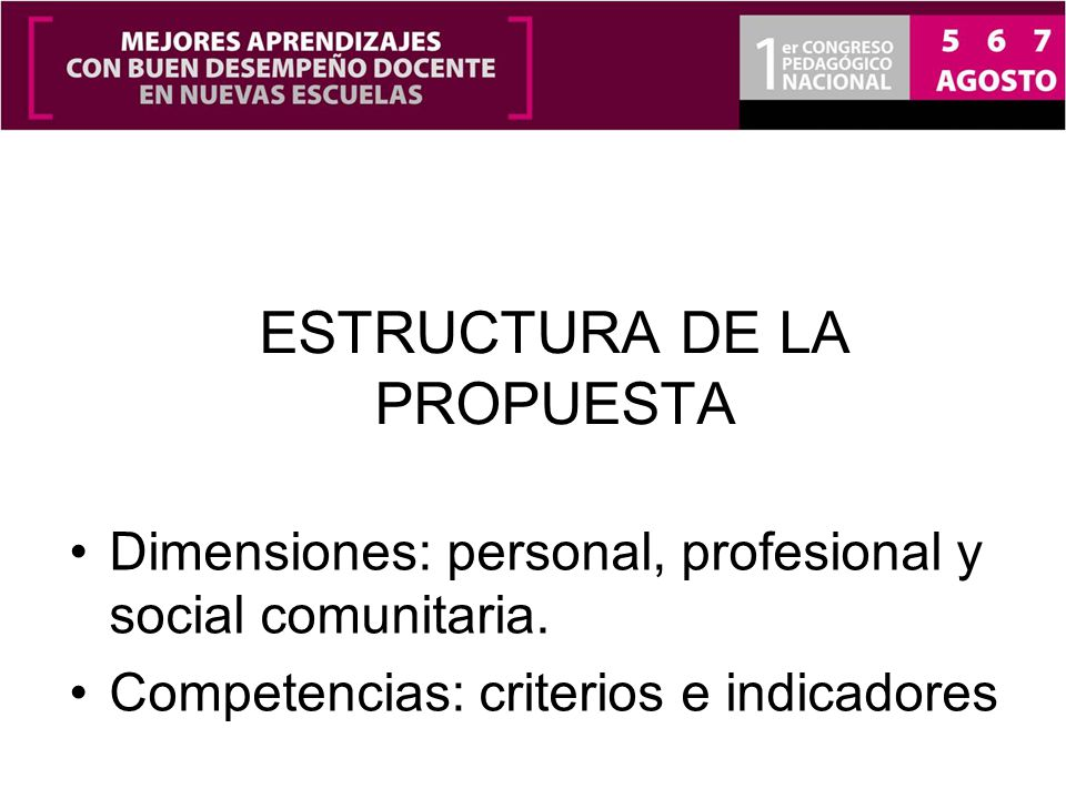 ESTRUCTURA DE LA PROPUESTA Dimensiones: personal, profesional y social comunitaria. Competencias: criterios e indicadores