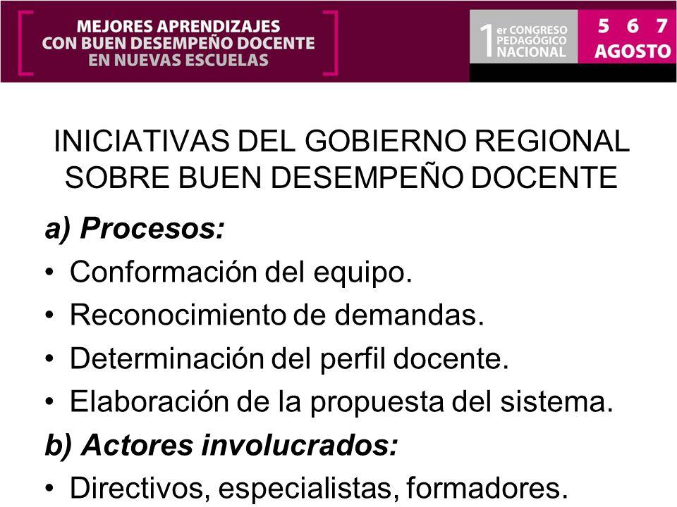 INICIATIVAS DEL GOBIERNO REGIONAL SOBRE BUEN DESEMPEÑO DOCENTE a) Procesos: Conformación del equipo. Reconocimiento de demandas. Determinación del per