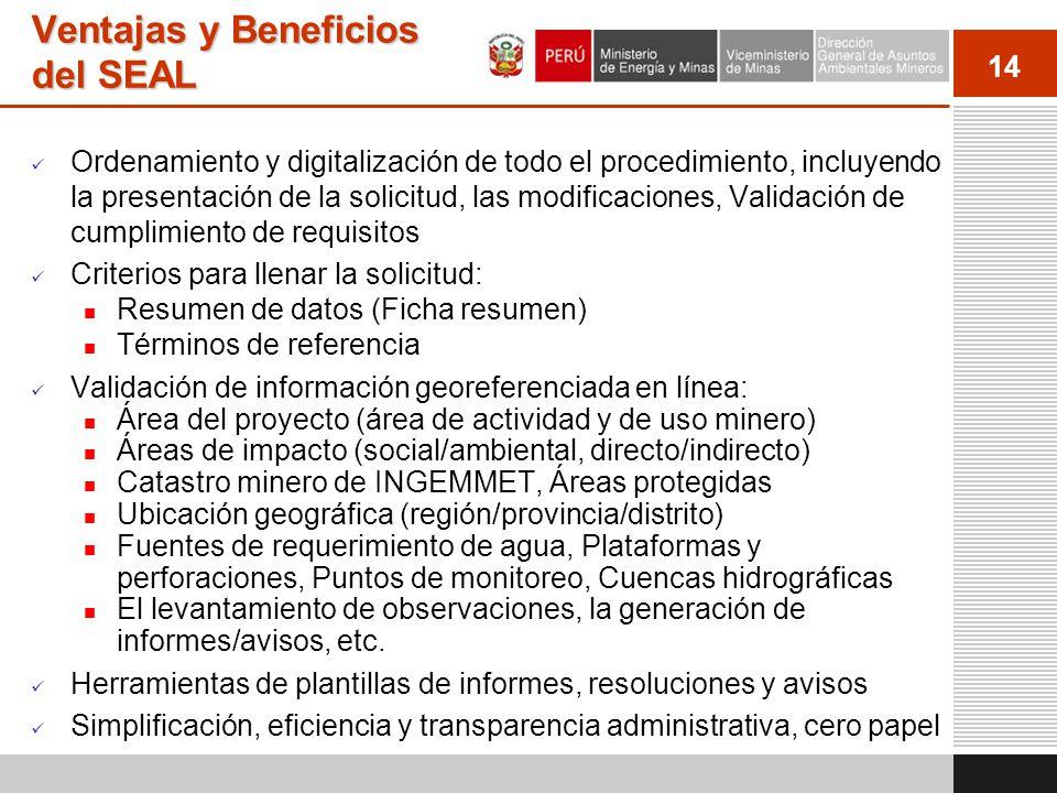 14 Ventajas y Beneficios del SEAL Ordenamiento y digitalización de todo el procedimiento, incluyendo la presentación de la solicitud, las modificacion