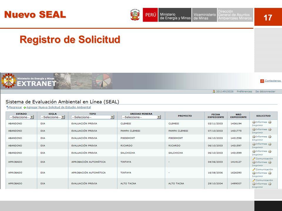 17 Registro de Solicitud Los titulares pueden ver todo la información histórica de los estudios ambientales presentados al MINEM Nuevo SEAL