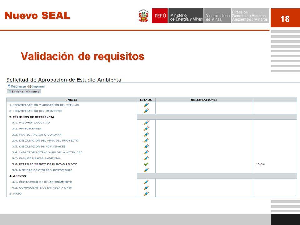 18 Validación de requisitos El sistema muestra un índice con los capítulos y secciones a llenar en acuerdo a los requisitos y términos de referencia e