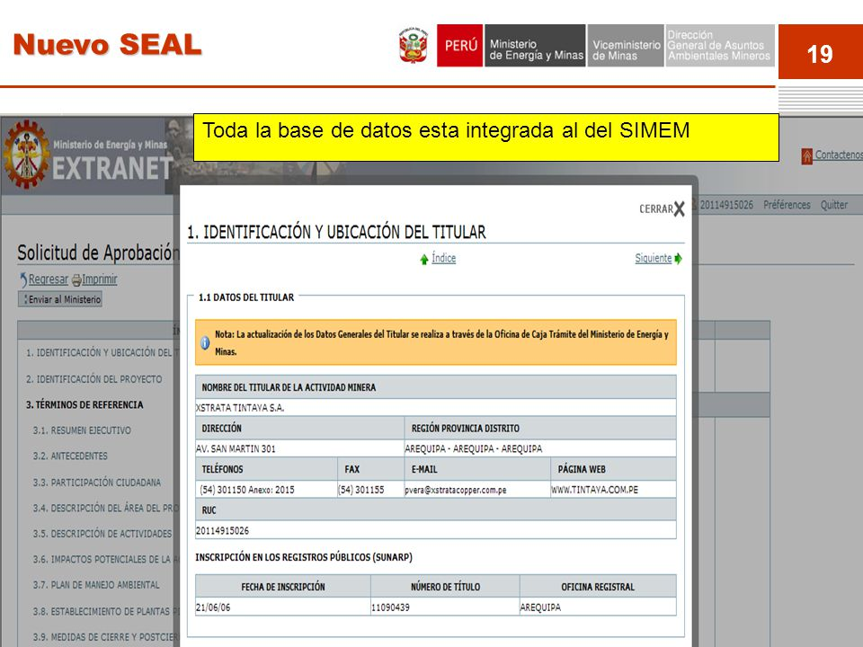 19 Event Toda la base de datos esta integrada al del SIMEM Nuevo SEAL