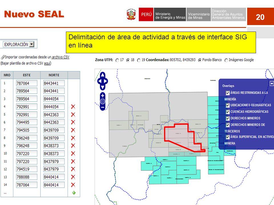 20 Event Delimitación de área de actividad a través de interface SIG en línea Nuevo SEAL