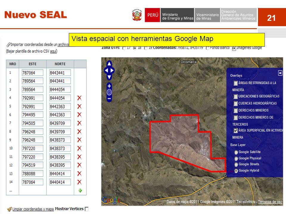 21 Event Vista espacial con herramientas Google Map Nuevo SEAL