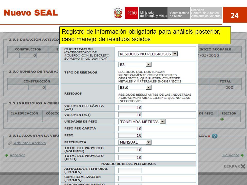 24 Event Registro de información obligatoria para análisis posterior, caso manejo de residuos sólidos Nuevo SEAL