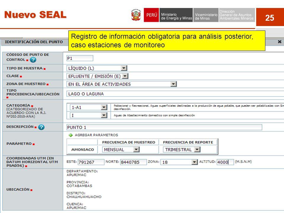 25 Event Registro de información obligatoria para análisis posterior, caso estaciones de monitoreo Nuevo SEAL