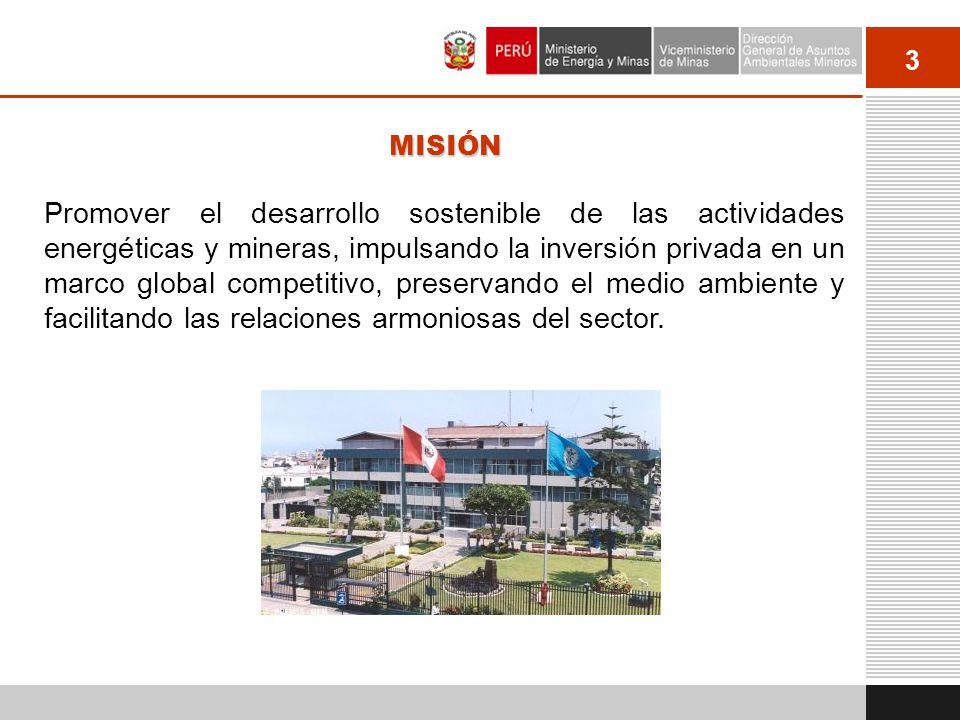 3 MISIÓN Promover el desarrollo sostenible de las actividades energéticas y mineras, impulsando la inversión privada en un marco global competitivo, p