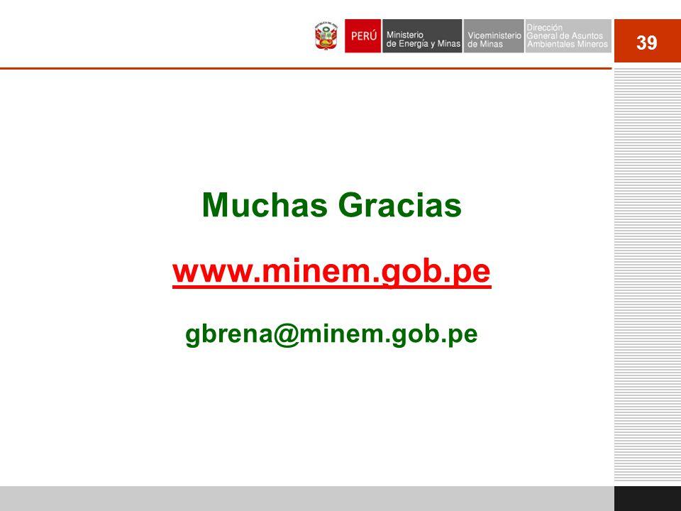 39 Muchas Gracias www.minem.gob.pe gbrena@minem.gob.pe