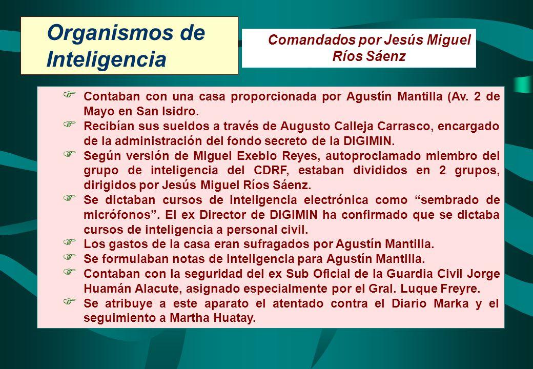 Organismos de Inteligencia Comandados por Jesús Miguel Ríos Sáenz Contaban con una casa proporcionada por Agustín Mantilla (Av. 2 de Mayo en San Isidr