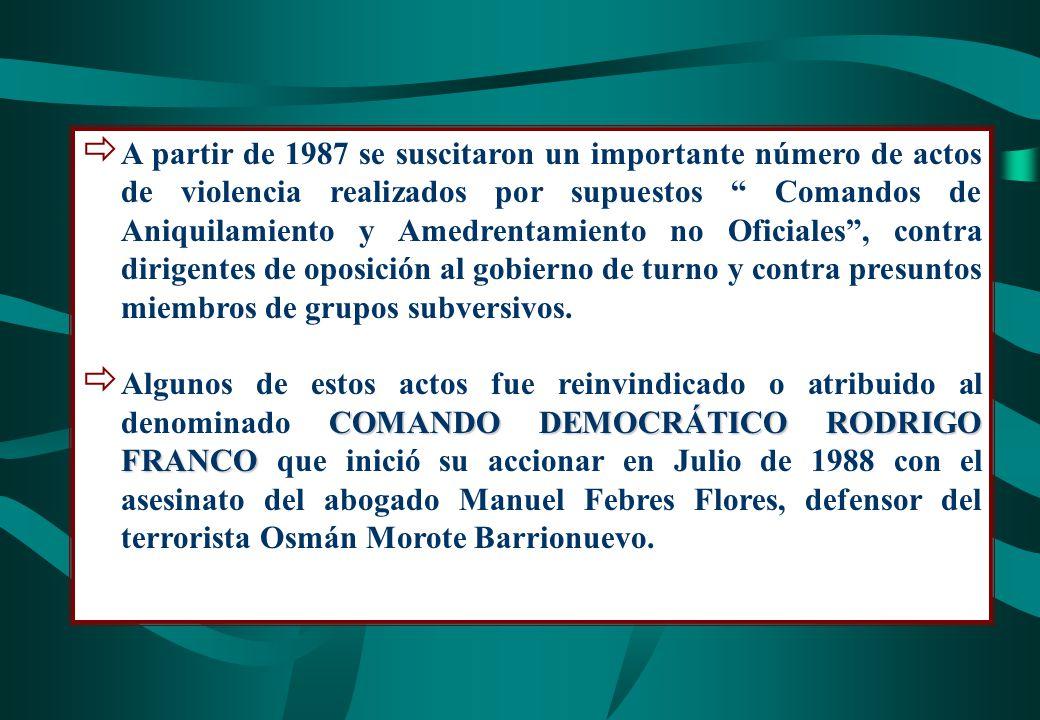 A partir de 1987 se suscitaron un importante número de actos de violencia realizados por supuestos Comandos de Aniquilamiento y Amedrentamiento no Ofi