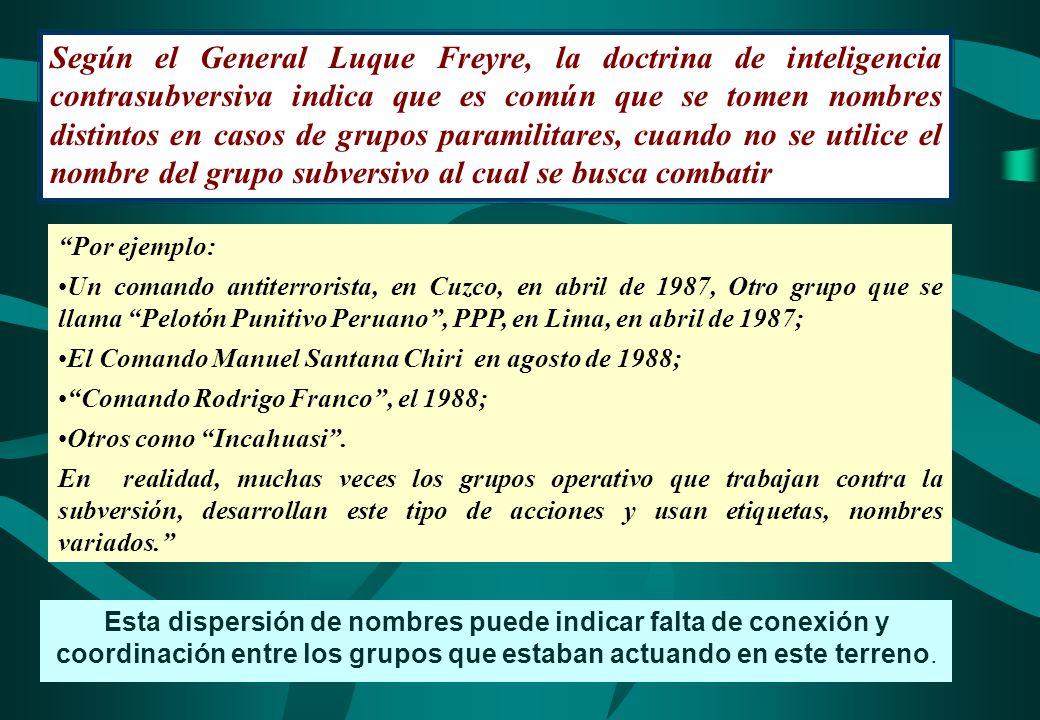 Según el General Luque Freyre, la doctrina de inteligencia contrasubversiva indica que es común que se tomen nombres distintos en casos de grupos para