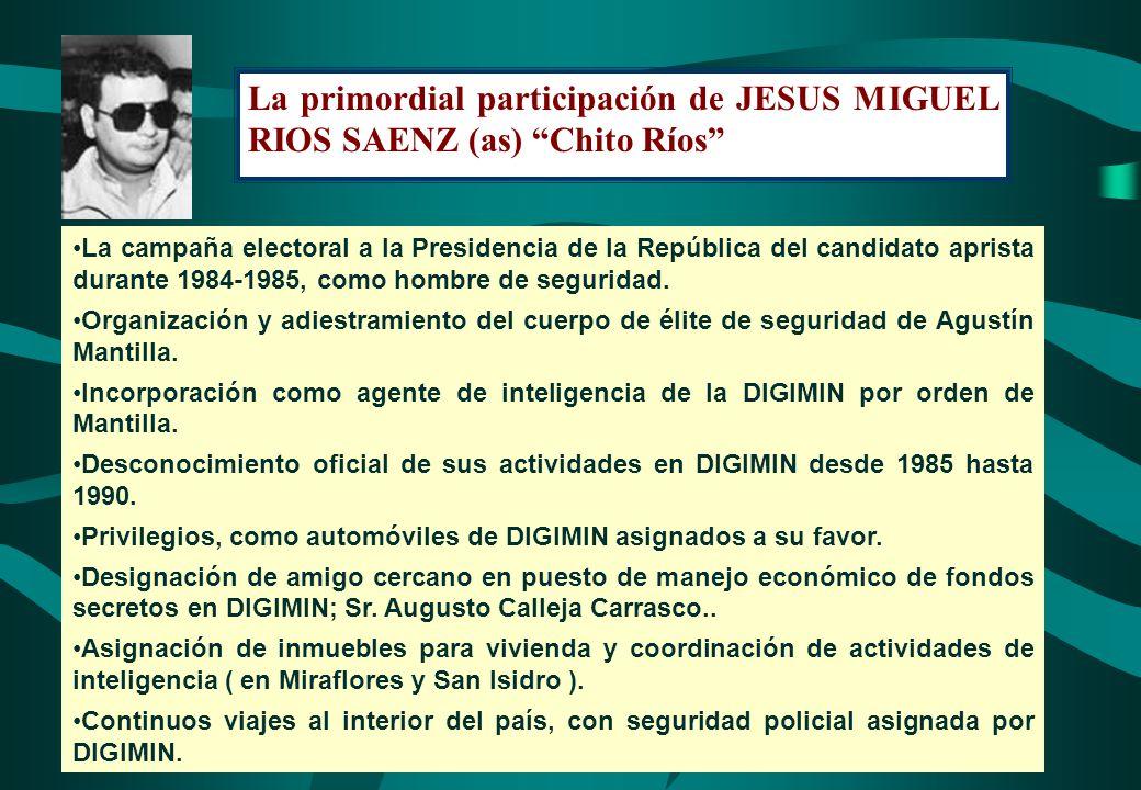 La primordial participación de JESUS MIGUEL RIOS SAENZ (as) Chito Ríos La campaña electoral a la Presidencia de la República del candidato aprista dur