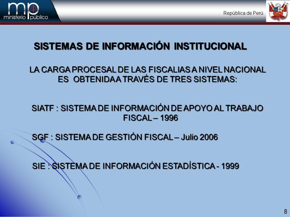 9 SISTEMAS DE INFORMACIÓN INSTITUCIONAL CARACTERISTICAS GENERALES Y FUNCIONES: SIATF : Este sistema cuenta con 2 Módulos para su operatividad:SIATF : Este sistema cuenta con 2 Módulos para su operatividad: Módulo Fiscal.Módulo Fiscal.