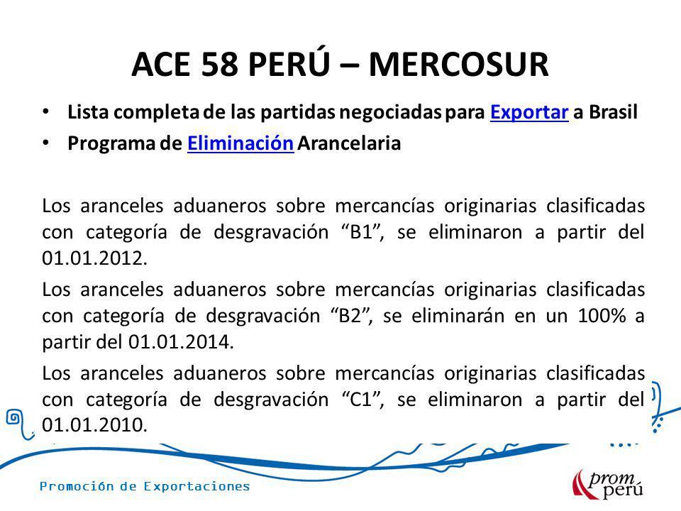 Promoción de Exportaciones ACE 58 PERÚ – MERCOSUR Lista completa de las partidas negociadas para Exportar a BrasilExportar Programa de Eliminación Ara