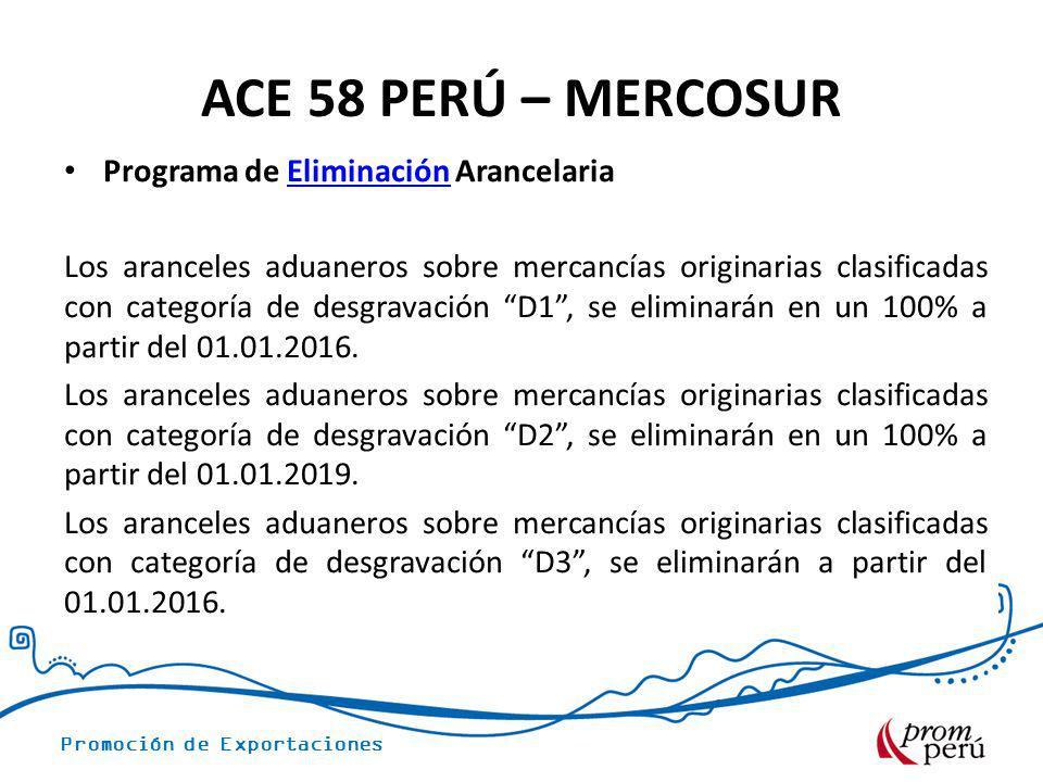 Promoción de Exportaciones ACE 58 PERÚ – MERCOSUR Programa de Eliminación ArancelariaEliminación Los aranceles aduaneros sobre mercancías originarias