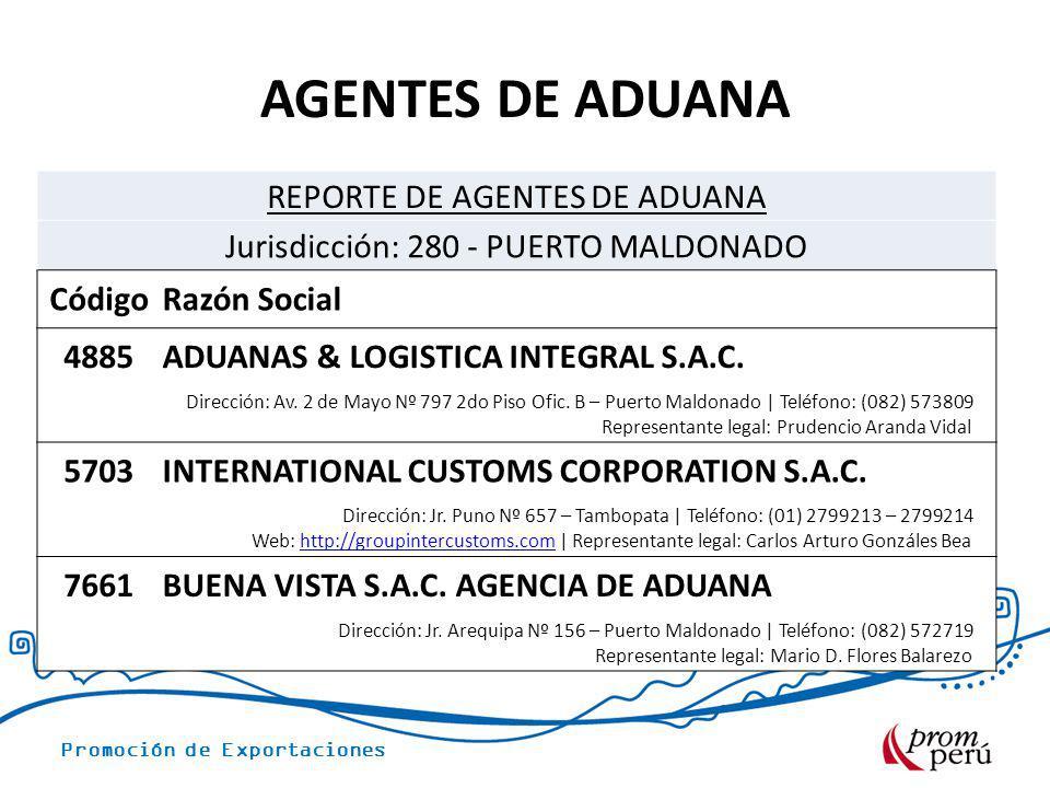 Promoción de Exportaciones AGENTES DE ADUANA REPORTE DE AGENTES DE ADUANA Jurisdicción: 280 - PUERTO MALDONADO CódigoRazón Social 4885ADUANAS & LOGIST