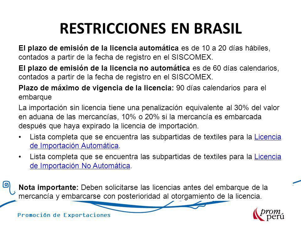 Promoción de Exportaciones RESTRICCIONES EN BRASIL El plazo de emisión de la licencia automática es de 10 a 20 días hábiles, contados a partir de la f