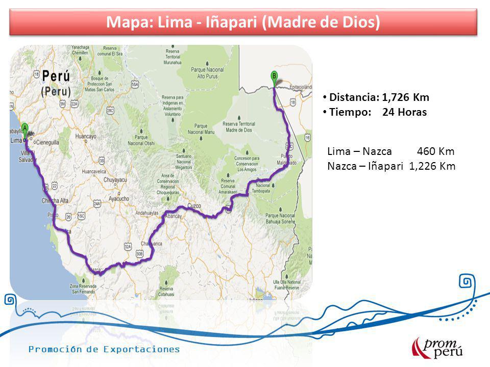 Promoción de Exportaciones Mapa: Lima - Iñapari (Madre de Dios) Distancia: 1,726 Km Tiempo: 24 Horas Lima – Nazca 460 Km Nazca – Iñapari 1,226 Km