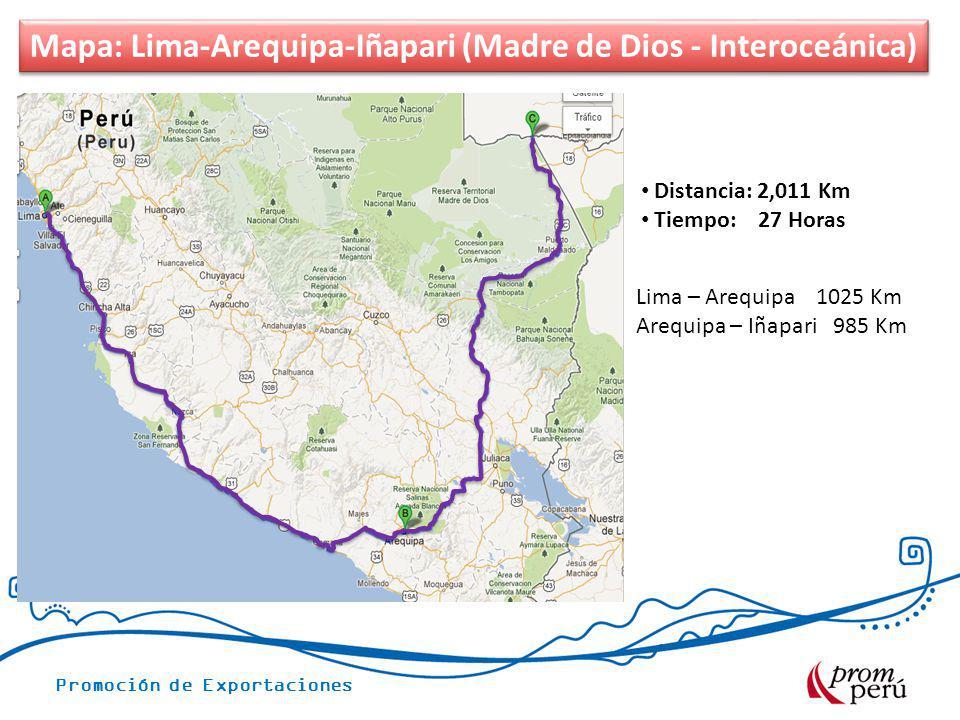 Promoción de Exportaciones Mapa: Lima-Arequipa-Iñapari Carretera Interoceánica Distancia: 2,011 Km Tiempo: 27 Horas Mapa: Lima-Arequipa-Iñapari (Madre
