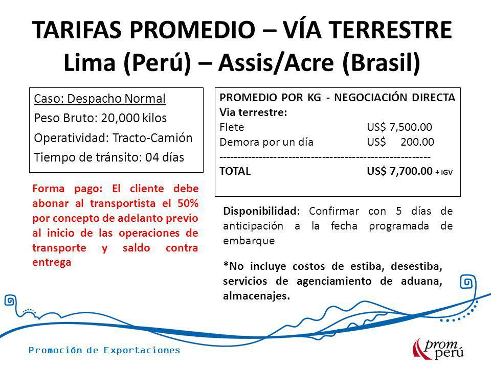 Promoción de Exportaciones Caso: Despacho Normal Peso Bruto: 20,000 kilos Operatividad: Tracto-Camión Tiempo de tránsito: 04 días PROMEDIO POR KG - NE