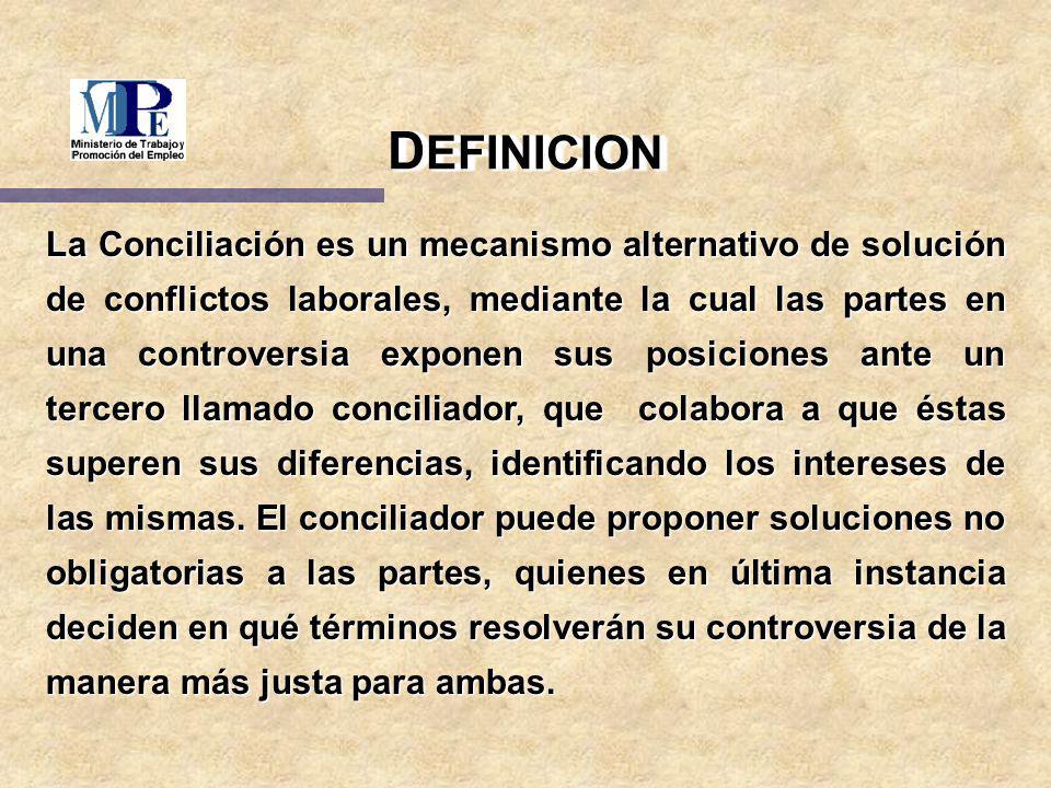 La Conciliación es un mecanismo alternativo de solución de conflictos laborales, mediante la cual las partes en una controversia exponen sus posicione