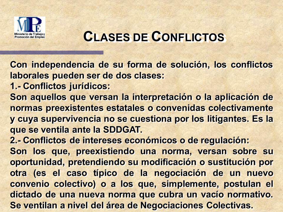 C LASES DE C ONFLICTOS Con independencia de su forma de solución, los conflictos laborales pueden ser de dos clases: 1.- Conflictos jurídicos: Son aqu