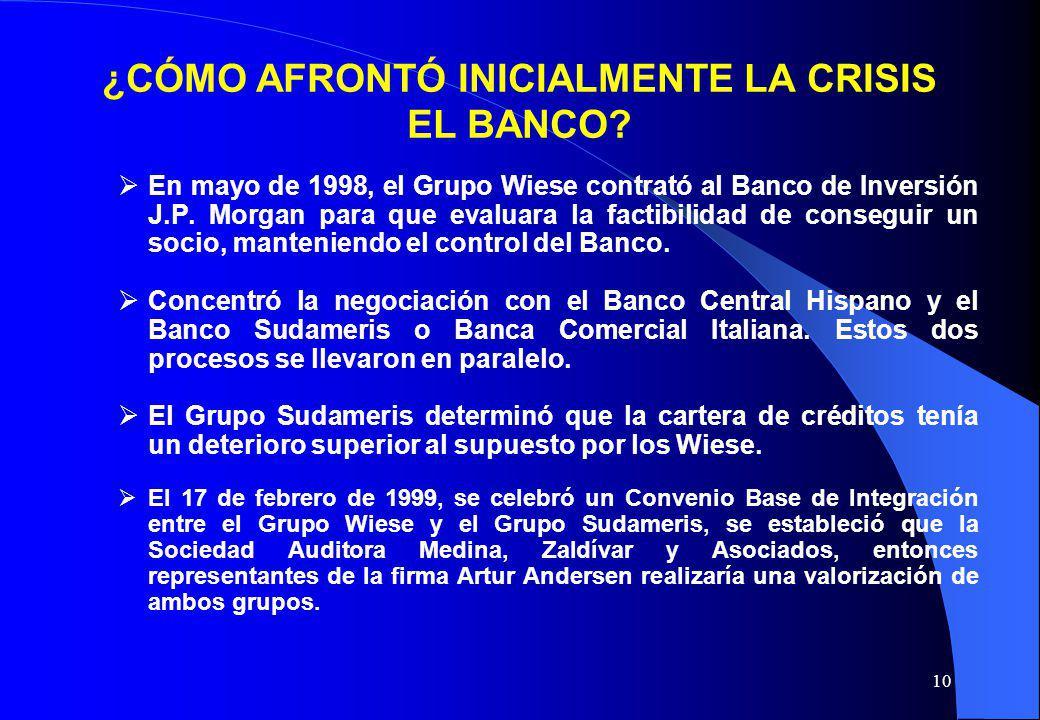 10 ¿CÓMO AFRONTÓ INICIALMENTE LA CRISIS EL BANCO? En mayo de 1998, el Grupo Wiese contrató al Banco de Inversión J.P. Morgan para que evaluara la fact