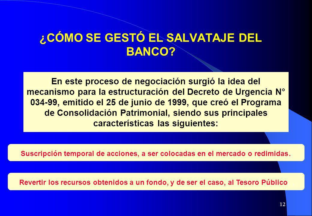 12 ¿CÓMO SE GESTÓ EL SALVATAJE DEL BANCO? En este proceso de negociación surgió la idea del mecanismo para la estructuración del Decreto de Urgencia N