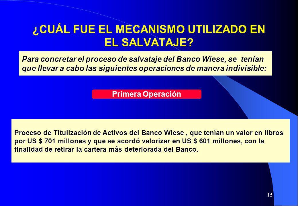 15 ¿CUÁL FUE EL MECANISMO UTILIZADO EN EL SALVATAJE? Para concretar el proceso de salvataje del Banco Wiese, se tenían que llevar a cabo las siguiente