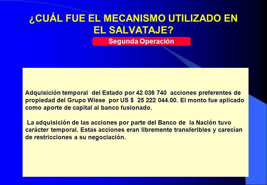 19 ¿CUÁL FUE EL MECANISMO UTILIZADO EN EL SALVATAJE? Segunda Operación Adquisición temporal del Estado por 42 036 740 acciones preferentes de propieda