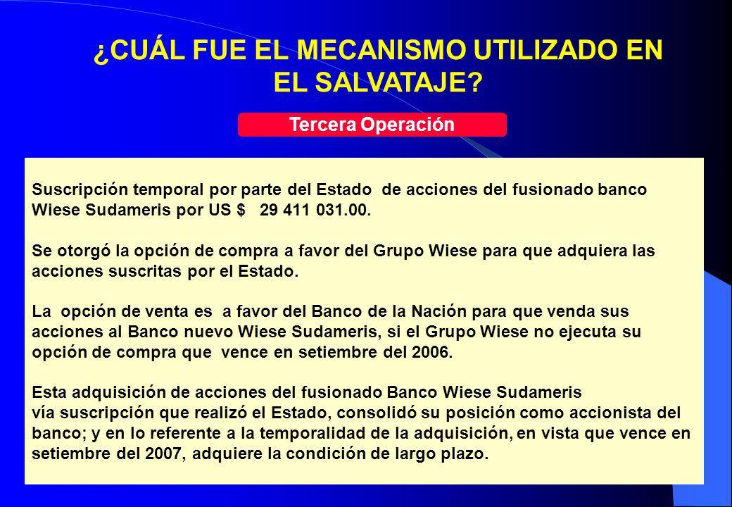21 Suscripción temporal por parte del Estado de acciones del fusionado banco Wiese Sudameris por US $ 29 411 031.00. Se otorgó la opción de compra a f