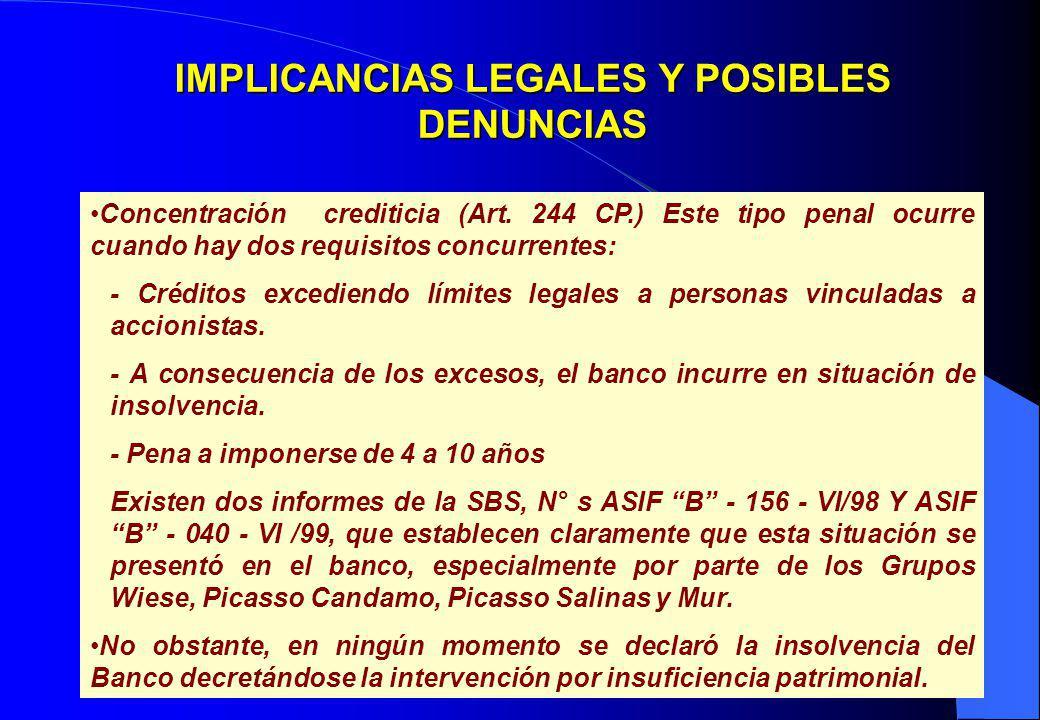 25 IMPLICANCIAS LEGALES Y POSIBLES DENUNCIAS Concentración crediticia (Art. 244 CP.) Este tipo penal ocurre cuando hay dos requisitos concurrentes: -