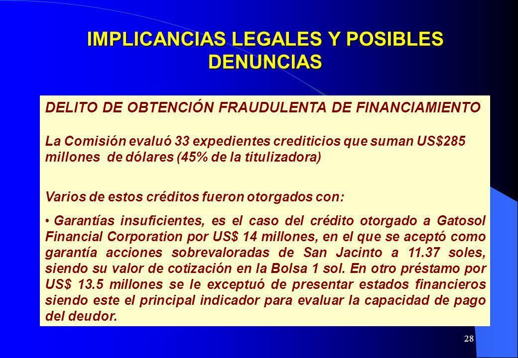 28 IMPLICANCIAS LEGALES Y POSIBLES DENUNCIAS DELITO DE OBTENCIÓN FRAUDULENTA DE FINANCIAMIENTO La Comisión evaluó 33 expedientes crediticios que suman