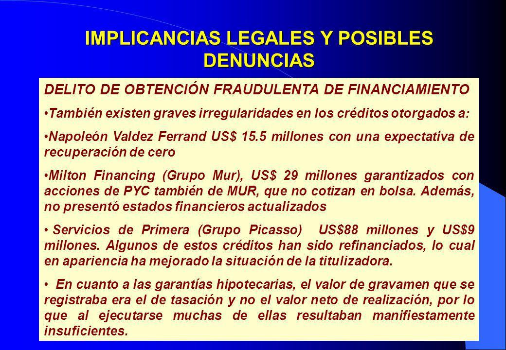 29 IMPLICANCIAS LEGALES Y POSIBLES DENUNCIAS DELITO DE OBTENCIÓN FRAUDULENTA DE FINANCIAMIENTO También existen graves irregularidades en los créditos