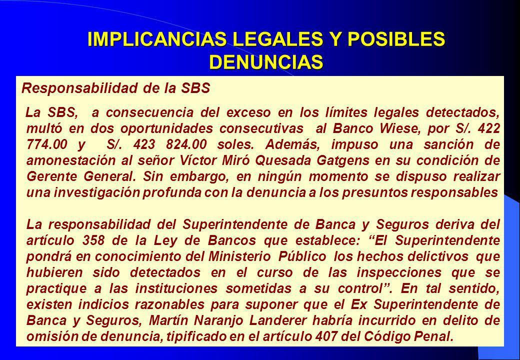 31 IMPLICANCIAS LEGALES Y POSIBLES DENUNCIAS Responsabilidad de la SBS La SBS, a consecuencia del exceso en los límites legales detectados, multó en d