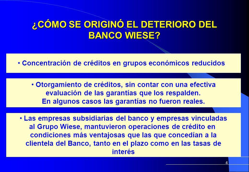 4 ¿CÓMO SE ORIGINÓ EL DETERIORO DEL BANCO WIESE? Concentración de créditos en grupos económicos reducidos. Otorgamiento de créditos, sin contar con un