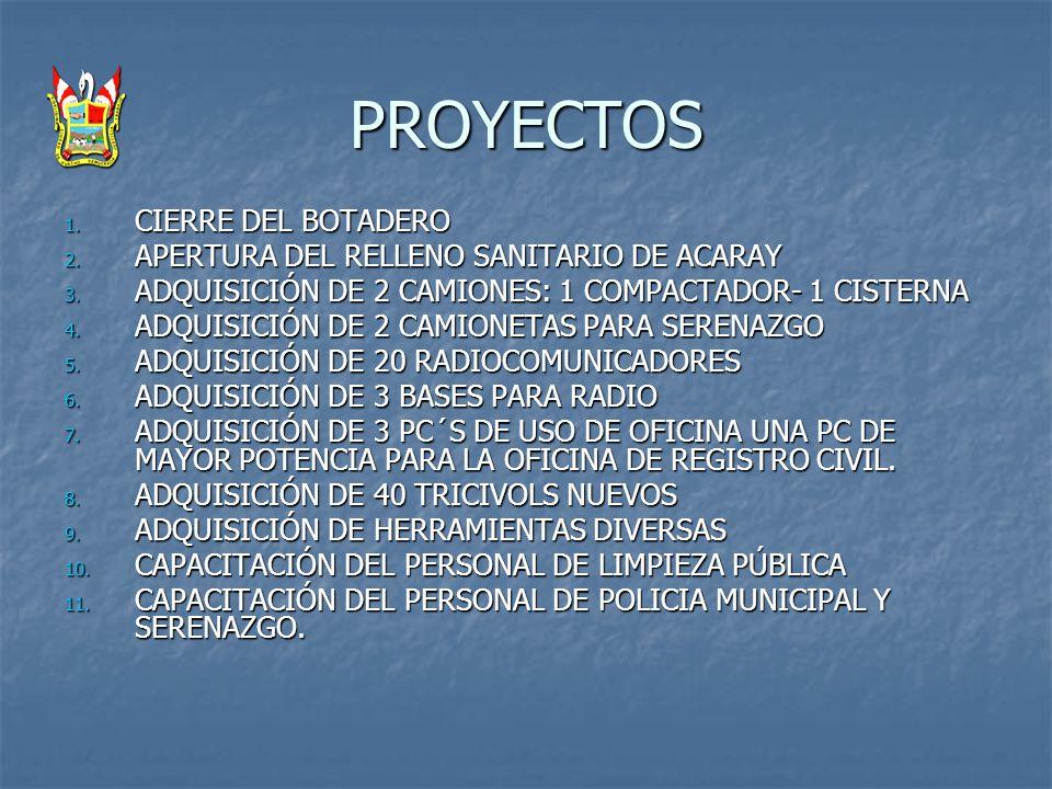 PROYECTOS 1. CIERRE DEL BOTADERO 2. APERTURA DEL RELLENO SANITARIO DE ACARAY 3. ADQUISICIÓN DE 2 CAMIONES: 1 COMPACTADOR- 1 CISTERNA 4. ADQUISICIÓN DE