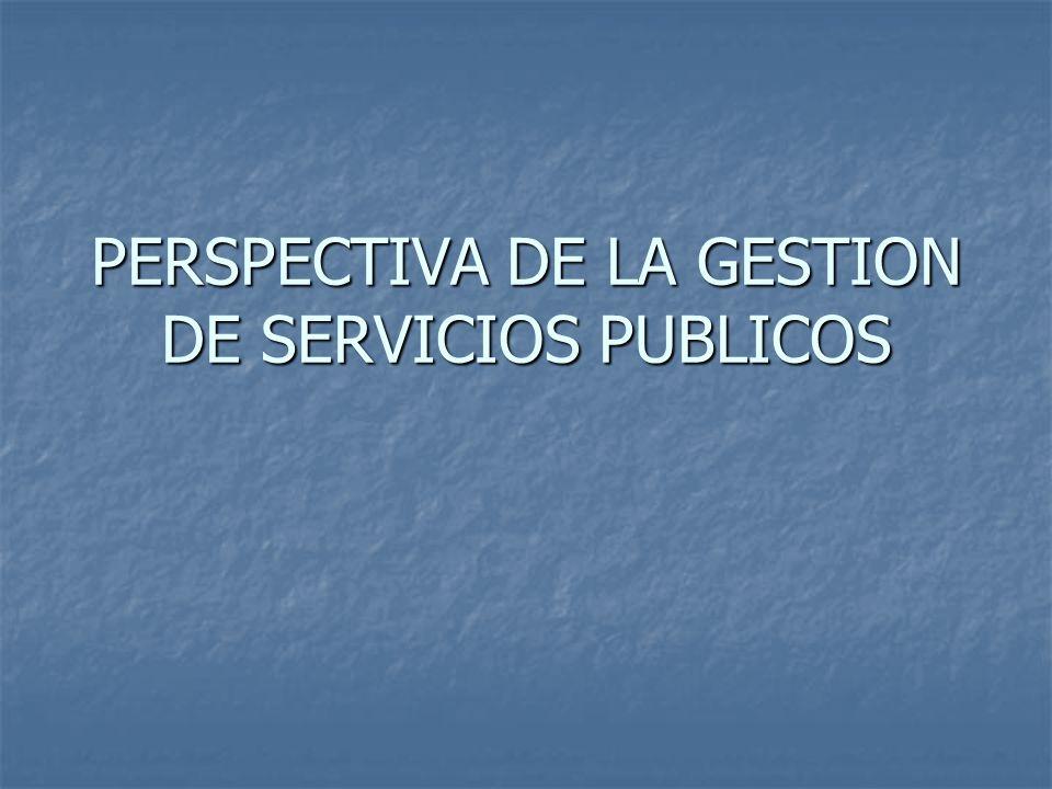 PERSPECTIVA DE LA GESTION DE SERVICIOS PUBLICOS