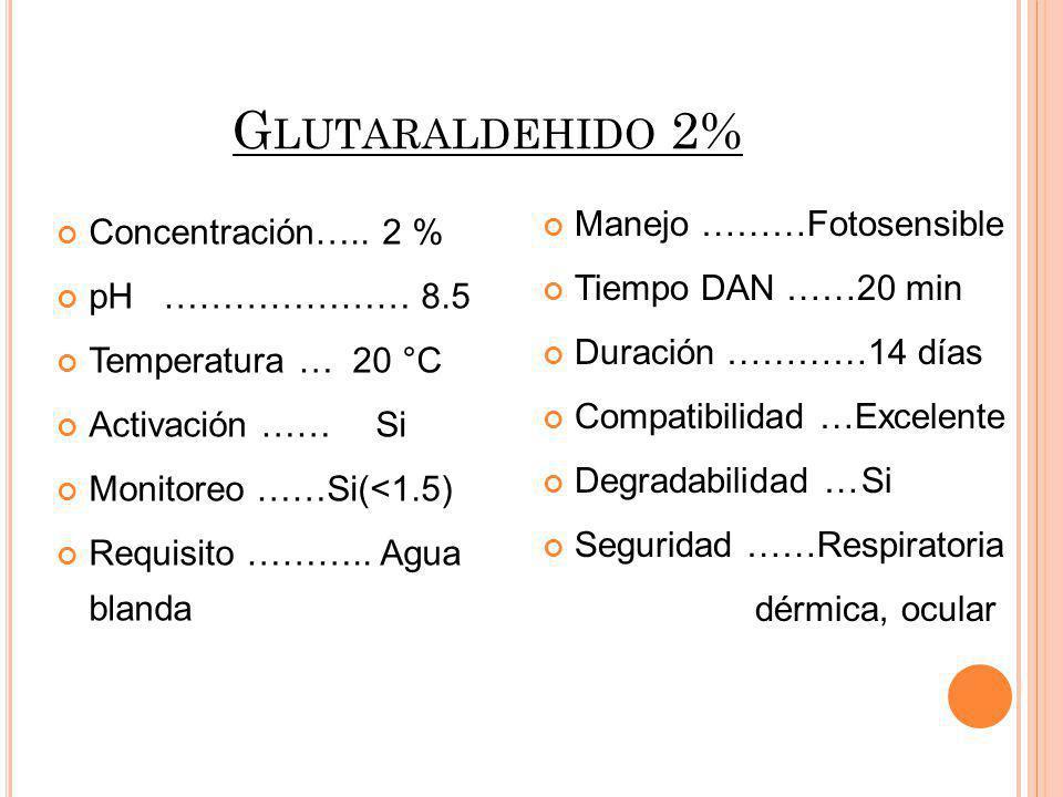 Concentración….. 2 % pH………………… 8.5 Temperatura … 20 °C Activación ……Si Monitoreo ……Si(<1.5) Requisito ……….. Agua blanda Manejo ………Fotosensible Tiempo