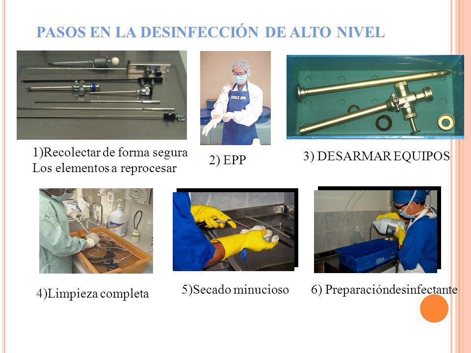 PASOS EN LA DESINFECCIÓN DE ALTO NIVEL 1)Recolectar de forma segura Los elementos a reprocesar 4)Limpieza completa 5)Secado minucioso 2) EPP 6) Prepar