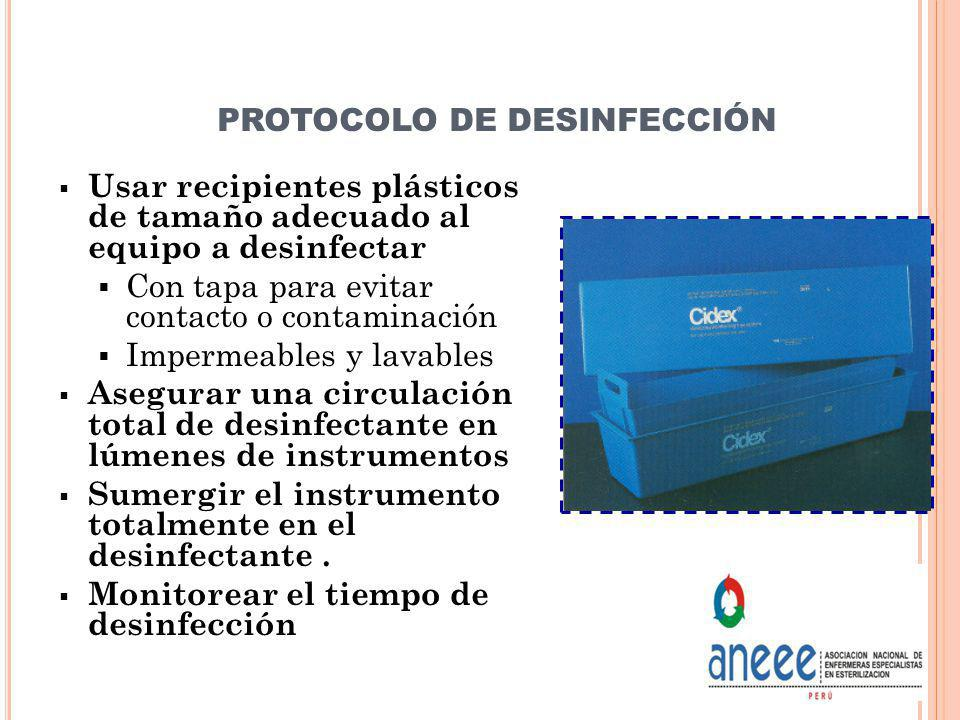 PROTOCOLO DE DESINFECCIÓN Usar recipientes plásticos de tamaño adecuado al equipo a desinfectar Con tapa para evitar contacto o contaminación Impermea
