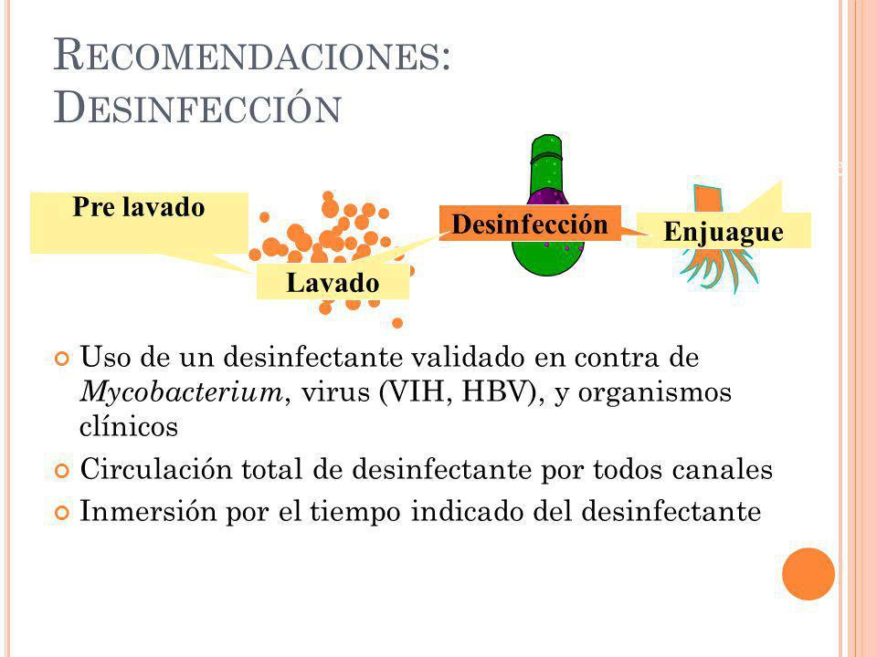 R ECOMENDACIONES : D ESINFECCIÓN Uso o almacenaje Enjuague Desinfección Lavado Pre lavado Uso de un desinfectante validado en contra de Mycobacterium,