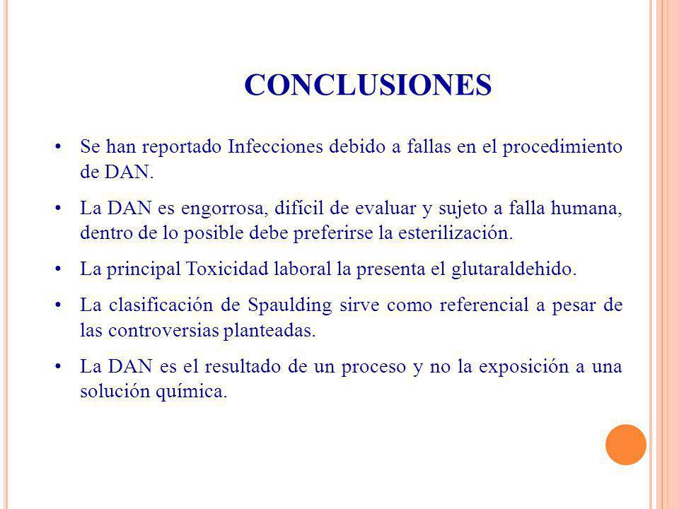 CONCLUSIONES Se han reportado Infecciones debido a fallas en el procedimiento de DAN. La DAN es engorrosa, difícil de evaluar y sujeto a falla humana,