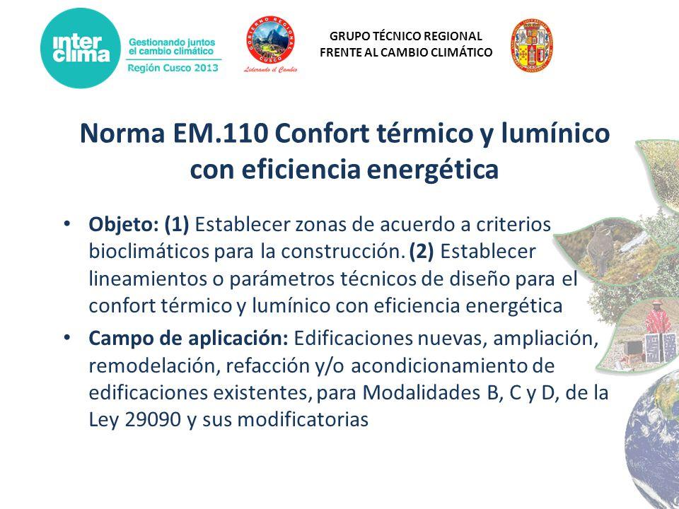 GRUPO TÉCNICO REGIONAL FRENTE AL CAMBIO CLIMÁTICO Norma EM.110 Confort térmico y lumínico con eficiencia energética Objeto: (1) Establecer zonas de ac