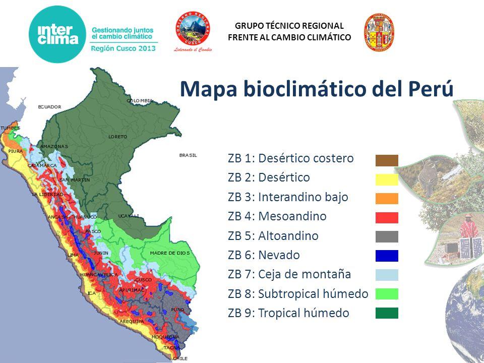 GRUPO TÉCNICO REGIONAL FRENTE AL CAMBIO CLIMÁTICO Mapa bioclimático del Perú ZB 1: Desértico costero ZB 2: Desértico ZB 3: Interandino bajo ZB 4: Meso
