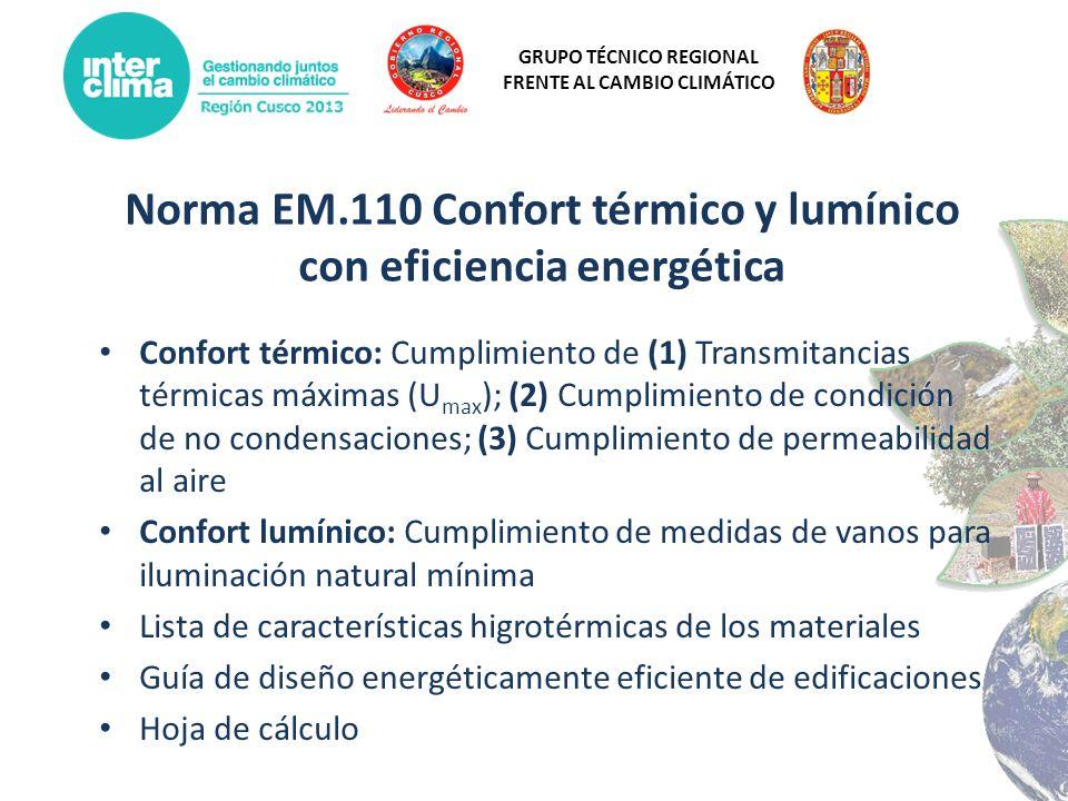 GRUPO TÉCNICO REGIONAL FRENTE AL CAMBIO CLIMÁTICO Norma EM.110 Confort térmico y lumínico con eficiencia energética Confort térmico: Cumplimiento de (