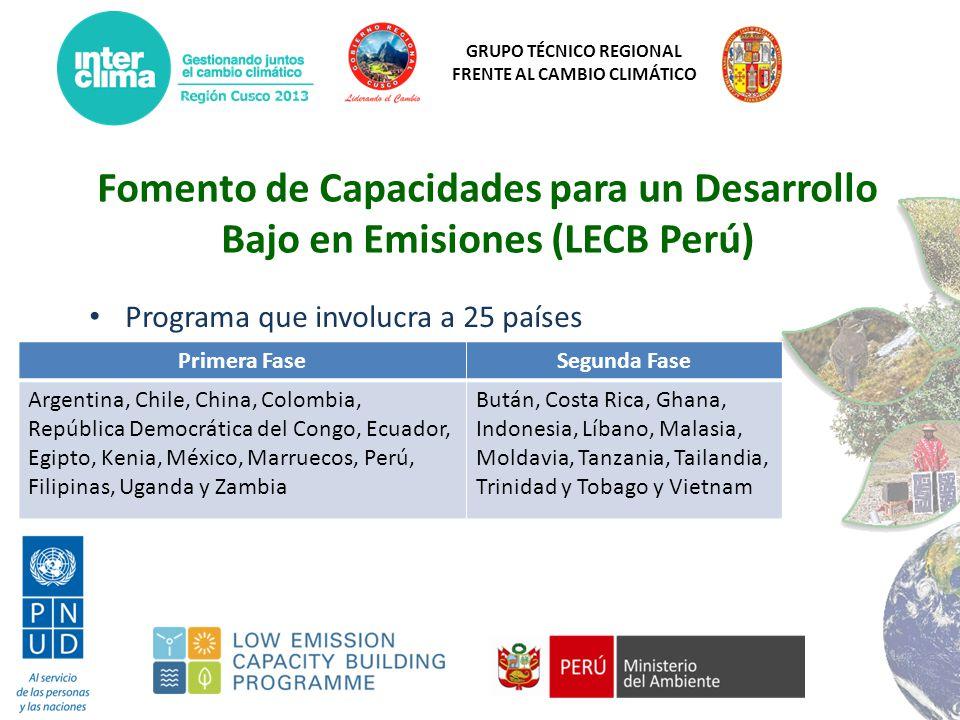 GRUPO TÉCNICO REGIONAL FRENTE AL CAMBIO CLIMÁTICO Objetivos Contribuir a los esfuerzos del Perú en: 1.Implementar el componente de energía del Sistema Nacional de Inventario de GEI 2.Diseñar NAMAs y sistemas MRV para la industria de los materiales de la construcción (cemento, acero, ladrillos) 3.Elaborar el marco conceptual de una Estrategia de Desarrollo bajo en Emisiones (LEDS) para el sector económico construcción