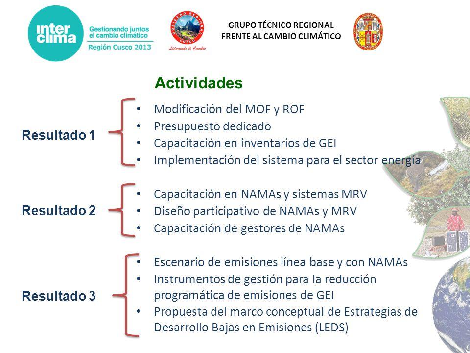 GRUPO TÉCNICO REGIONAL FRENTE AL CAMBIO CLIMÁTICO Modificación del MOF y ROF Presupuesto dedicado Capacitación en inventarios de GEI Implementación de